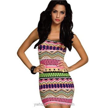 691f7cb375b 2017 New Style Slim Fitting And Hips Tight-fitting Bodycon Dresses Sexy  Sleeveless Slim Printed