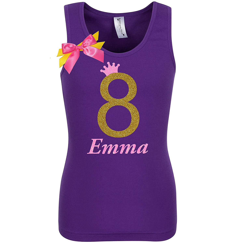 Get Quotations Girls 8th Birthday Shirt Gold Glitter Rainbow T Tank Top Custom Name Age 8