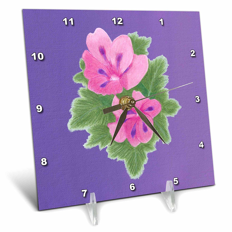 CherylsArt Flowers Art - Pink and Purple Geranium Flowers on Blended Lavender - 6x6 Desk Clock (dc_243752_1)