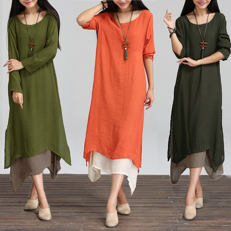 38b2b8823846 Fashion Autumn 2017 Women Dress Cotton Linen O Neck Long Sleeve Casual  Loose Boho Long Maxi Dresses Vestidos Plus Size L 2XL Yellow T Shirt Dress  Dress For ...