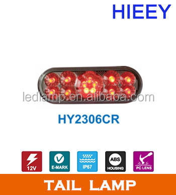 "13 red LEDs rear light with clear lens 6inch led truck tail lamp 12v 6"" oval led trailer tail light"