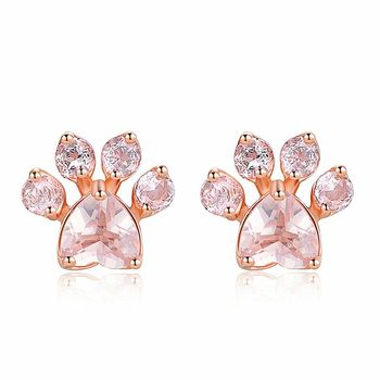 2018 New Arrival Popular Paw Crystal Zircon Rose Gold Plated Stud Earrings