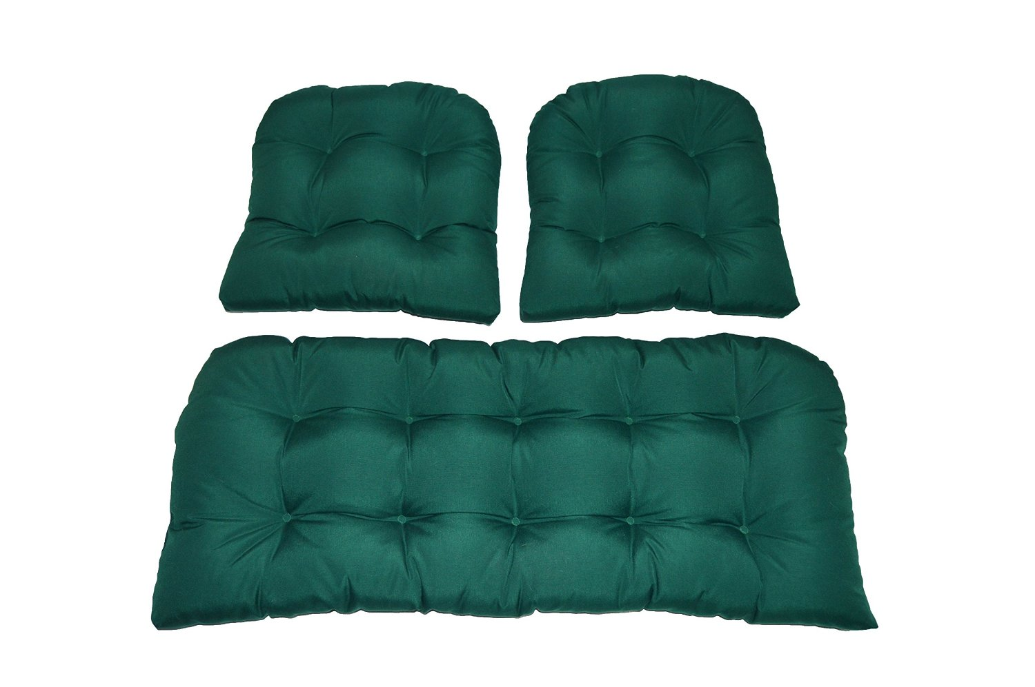 3 Piece Wicker Cushion Set - Solid Hunter Green Indoor / Outdoor Fabric Cushion for Wicker Loveseat Settee & 2 Matching Chair Cushions