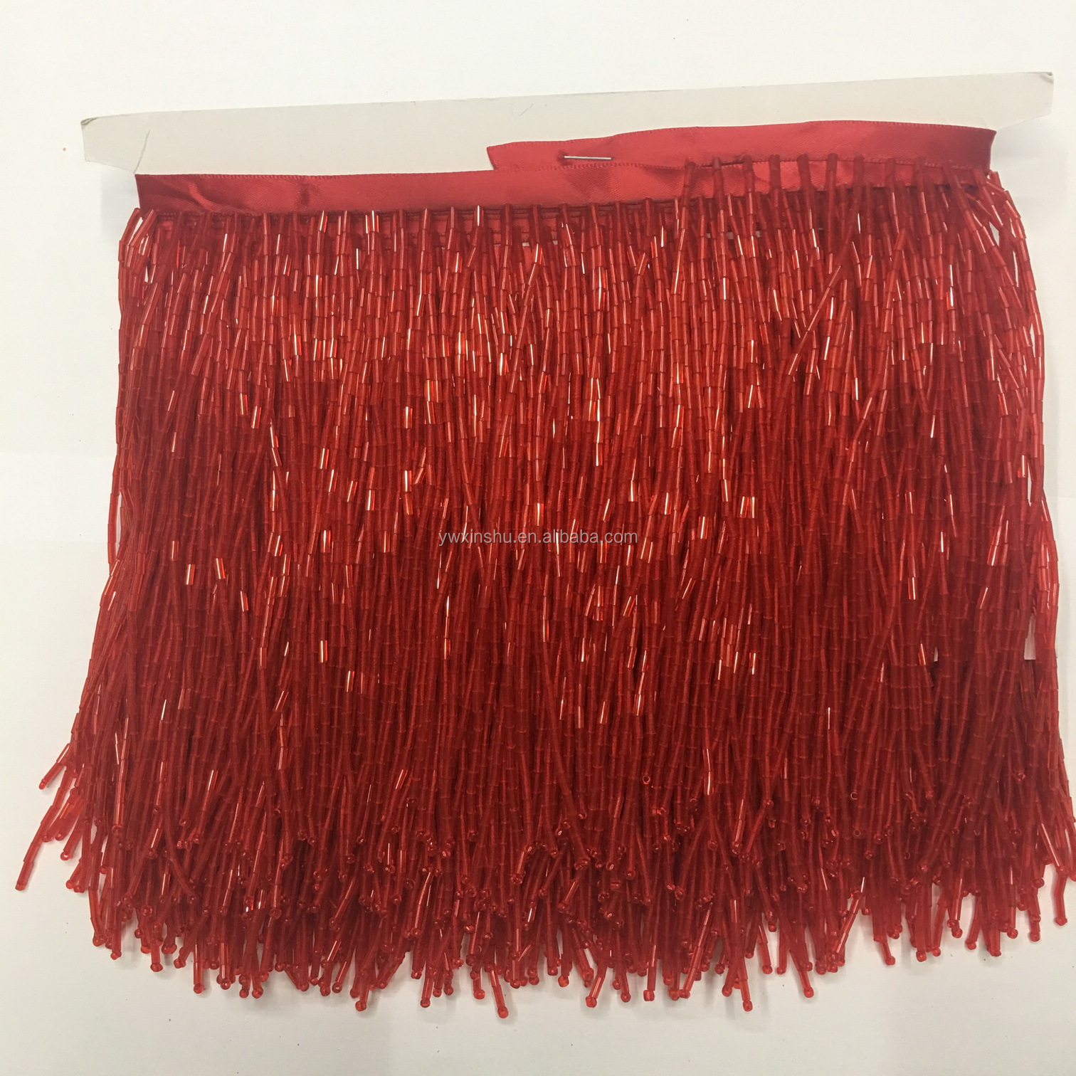 "1 Yard 6.5/"" RED Glass SEED Bead Beaded Fringe Lamp Lampshade Costume Trim"
