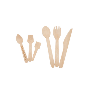 Disposable wooden cutlery bamboo fruit spoon fork knife