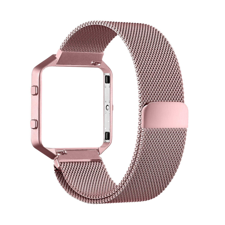 Fitbit Blaze Accessory Band,Large(6.3-9.1 in),Oitom Frame Housing+Milanese loop stainless steel Bracelet Strap for Fitbit Blaze Smart Fitness Watch (Sakura Pink Frame+Loop)