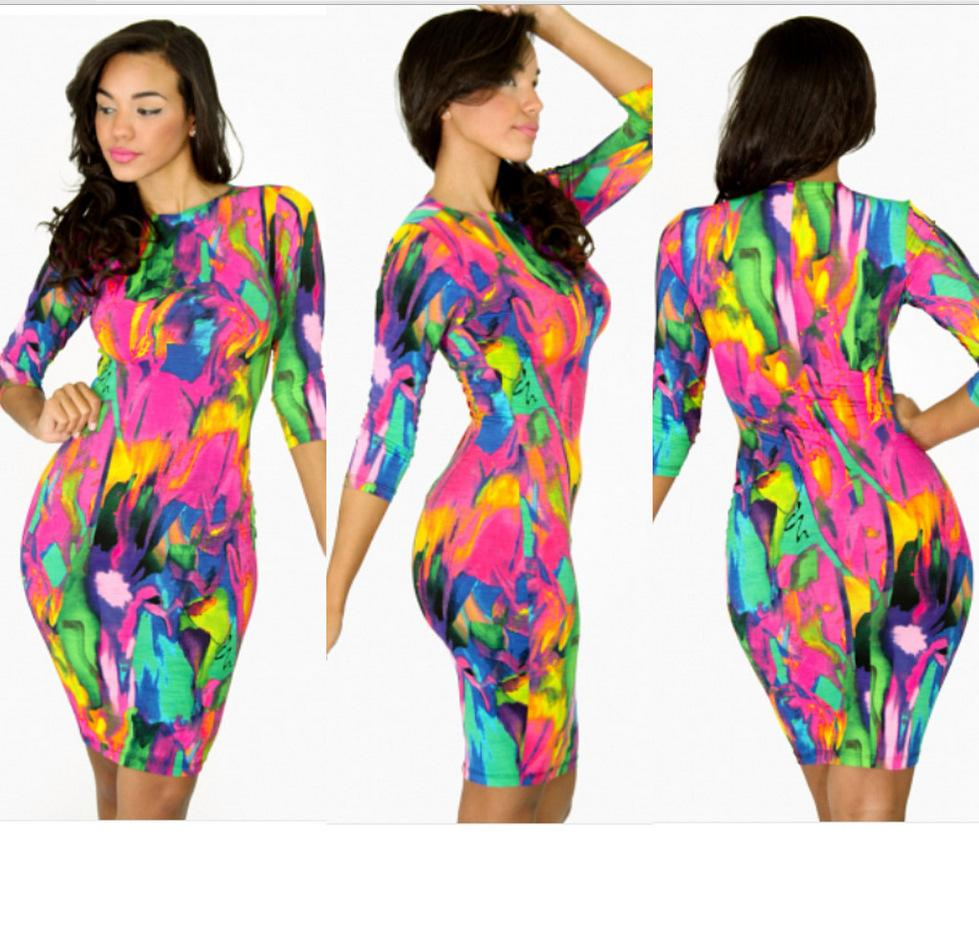 9a5f05ae75 Get Quotations · Women Summer Dress 2015 New Half Sleeve Elegant Vintage  Rainbow Print Dress Sexy Party Bodycon Bandage