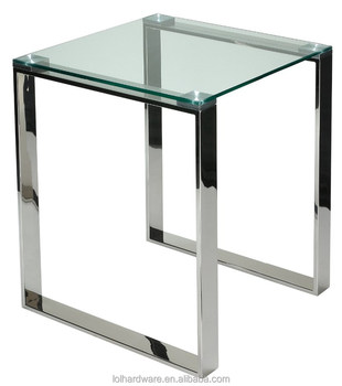 Factory Price Gl End Table With Chrome Finish