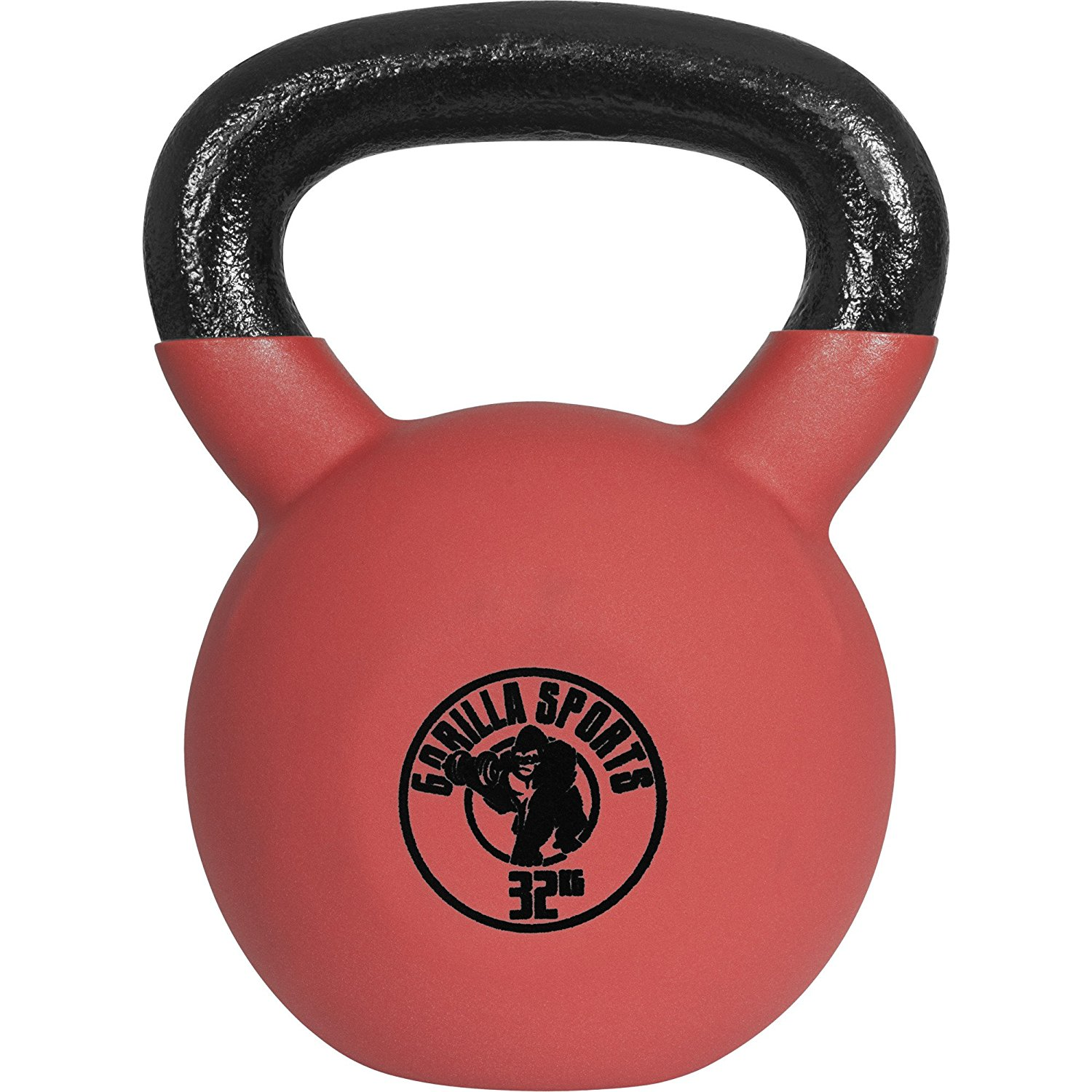 GORILLA SPORTS Red Rubber Kettelbell 4-28 kg – Fitness cast iron weight with neoprene coating red/black