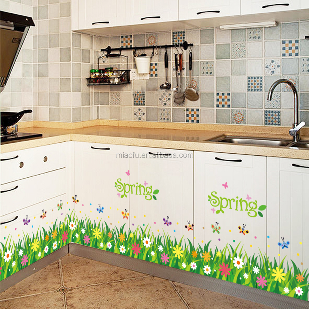 Waterproof Flower Kitchen Wall Tile. Tile Stickers For Kitchen  kitchen wall sticker pvc mosaic tile