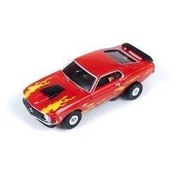 Auto World 234 1970 Ford Mustang Boss 429 Red Thunder Jet 500 Flames HO Slot Car