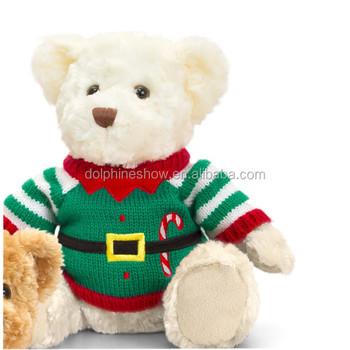 Custom Stuffed Animal Plush Christmas Ornaments Teddy Bear In Elf