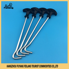 Customized Steel Hardware Kids Camping Tools Tent Pegs Puller Hook With Plastic Handle Outdoor