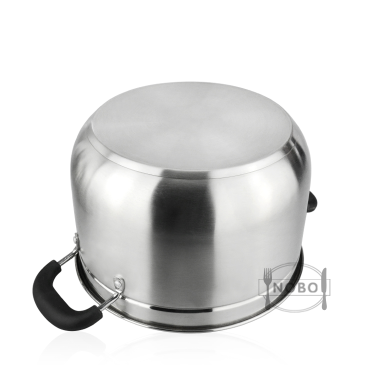 American stainless steel composite bottom soup pot with steam layer