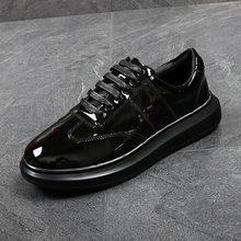Весенние кроссовки из лакированной кожи; золотистые стильные мужские кроссовки на толстой резиновой подошве, увеличивающие рост; Повседне...(Китай)