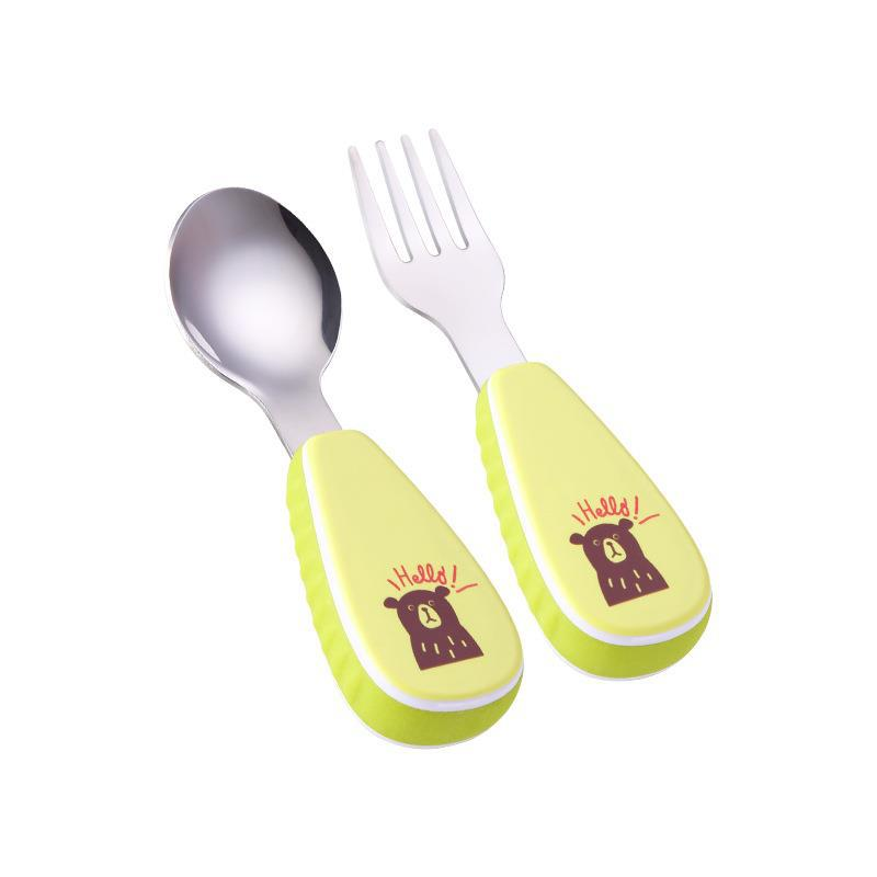 Tableware New Products Baby Spoon Fork Sets 304 Stainless Steel Cute Cartoon Animal Children Cutlery Set With Plastic PP Handle