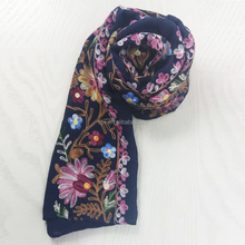 China Factory Floral Pattern Embroidery Imitation Linen Hijab Scarf for Muslim