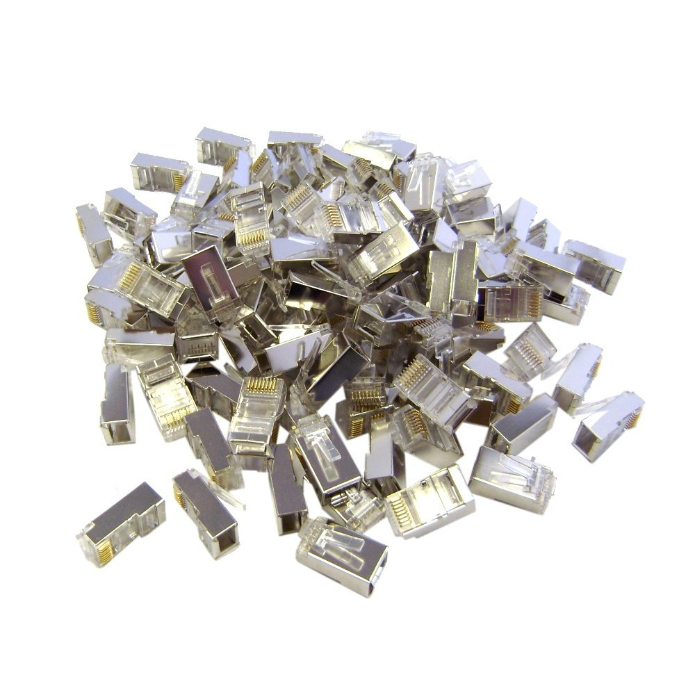 C&E Shielded Cat6 RJ45 STP 8P8C Crimp Connectors for Solid and Stranded Cable, 100 Pieces (CNE43897)