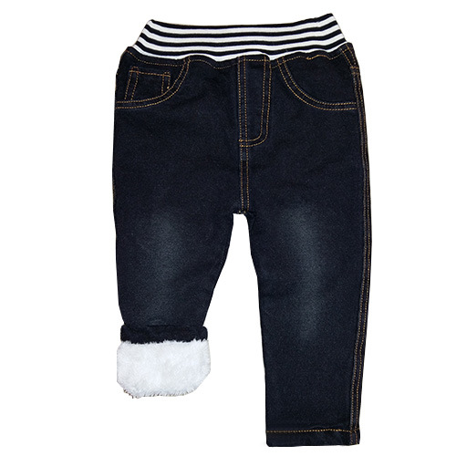 winter striped strech thick fleece lining children wear denim jeans pants