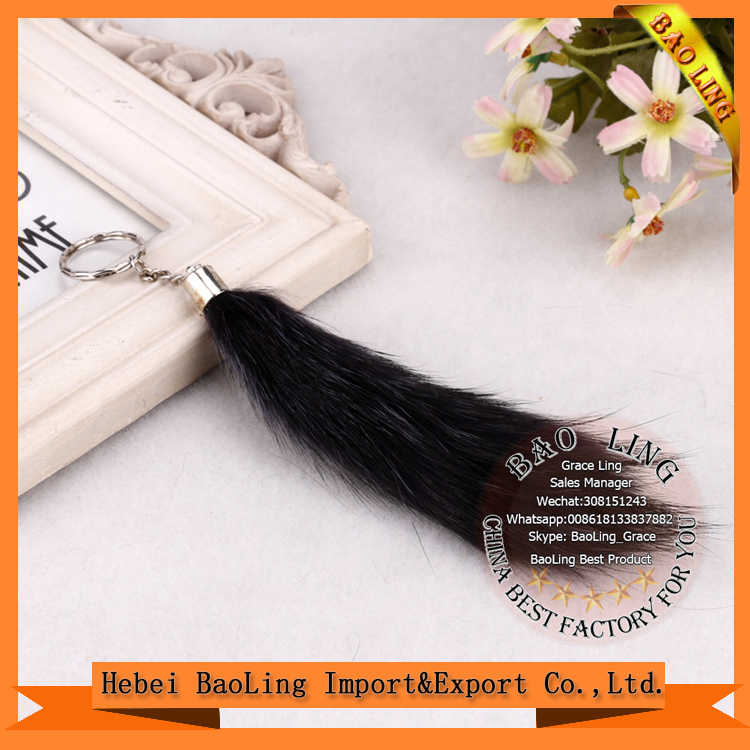 Luxury bag making accessories Real Fox hair s keychain hanging key chain Keyring bag charm