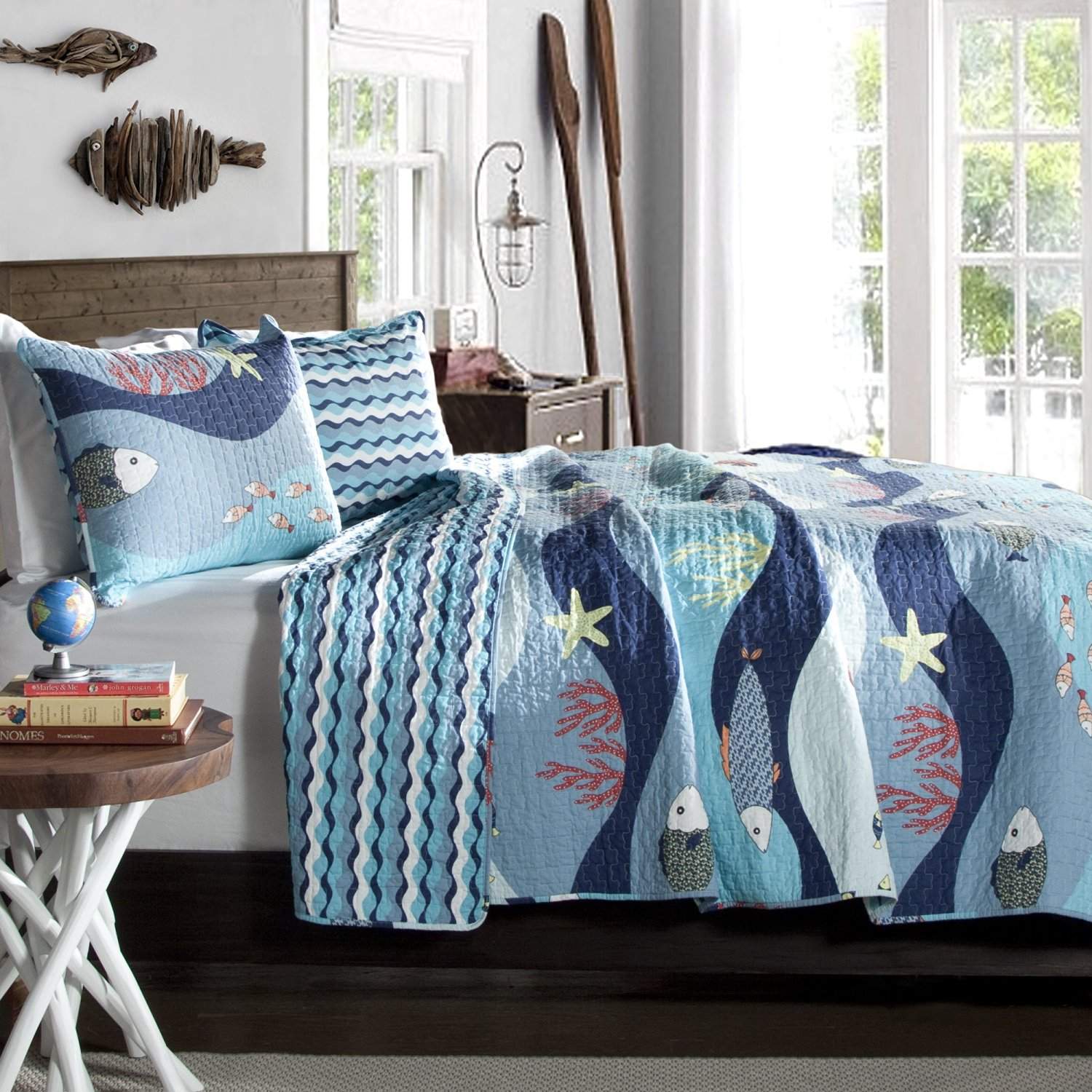 3 Piece Soft Bedspreads Coverlet Set with Blue Ocean Design, 100% Cotton, Full / Queen Size, Ocean Themed Bedding Quilt Set, White Red Baby Teal Blue, Sea Fish, Starfish, Coral