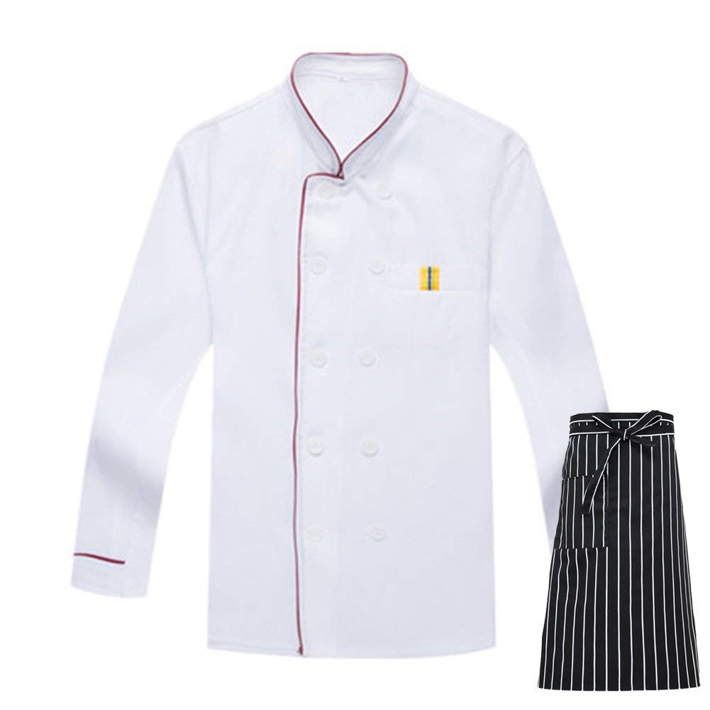 Mens Long Sleeve Active Chef Coat Long Sleeve Chef Jacket