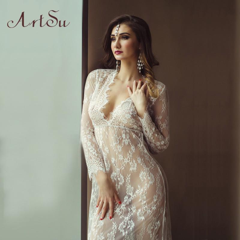 f28a9ead5a ArtSu Women Black Lace Dress Floor-Length White See Through Dress Adjust  Waist Sexy New Hollow Out Vestido Maxi Plus Size DR5046