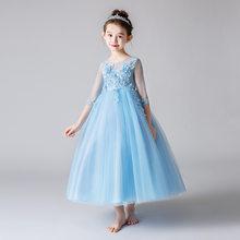 Милые Платья с цветочным узором для девочек на свадьбу, бальное платье с аппликацией из бисера и поясом, милое детское платье для причастия ...(Китай)
