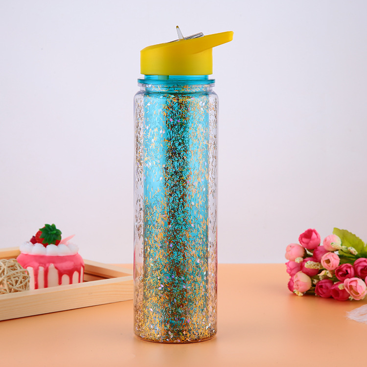 Double wall glitter plastic water bottle with shinning chips