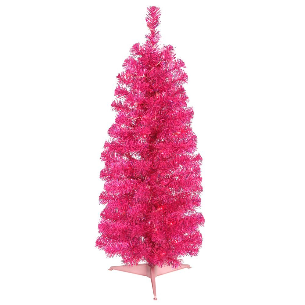 get quotations vickerman colorful pencil hot pink christmas tree with 50 pink mini lights 3 feet