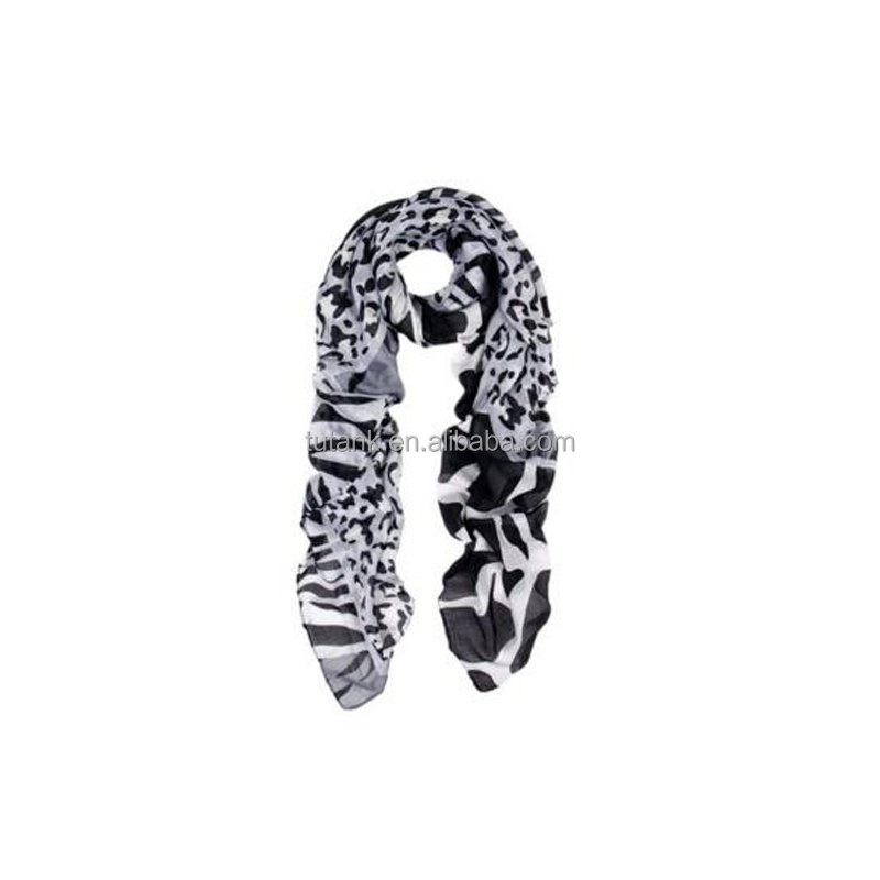 Leopard & Zebra Mixed Animal Print Scarf