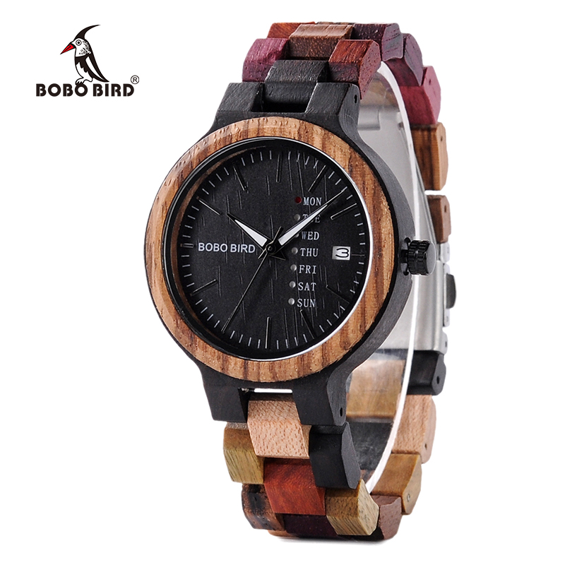 BOBO BIRD <strong>hot</strong> sale multicoloured auto date wooden watch with fashion deer head in watch dial for women