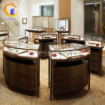 Custom advanced stainless steel glass jewelry display cabinet, jewelry display metal cabinet