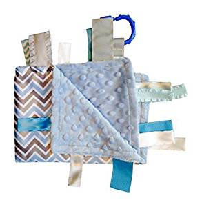 Sensory Baby Boy Tag Blanket, Blue Gray Chevron, 14 X 18. For Entertainment, Security, Comfort. Also Used for Special Needs, Autism, Therapy. Ribbons Sewn Shut Into Tabs for Added Security. Made in Usa By Baby Jack Blankets by Baby Jack & Co