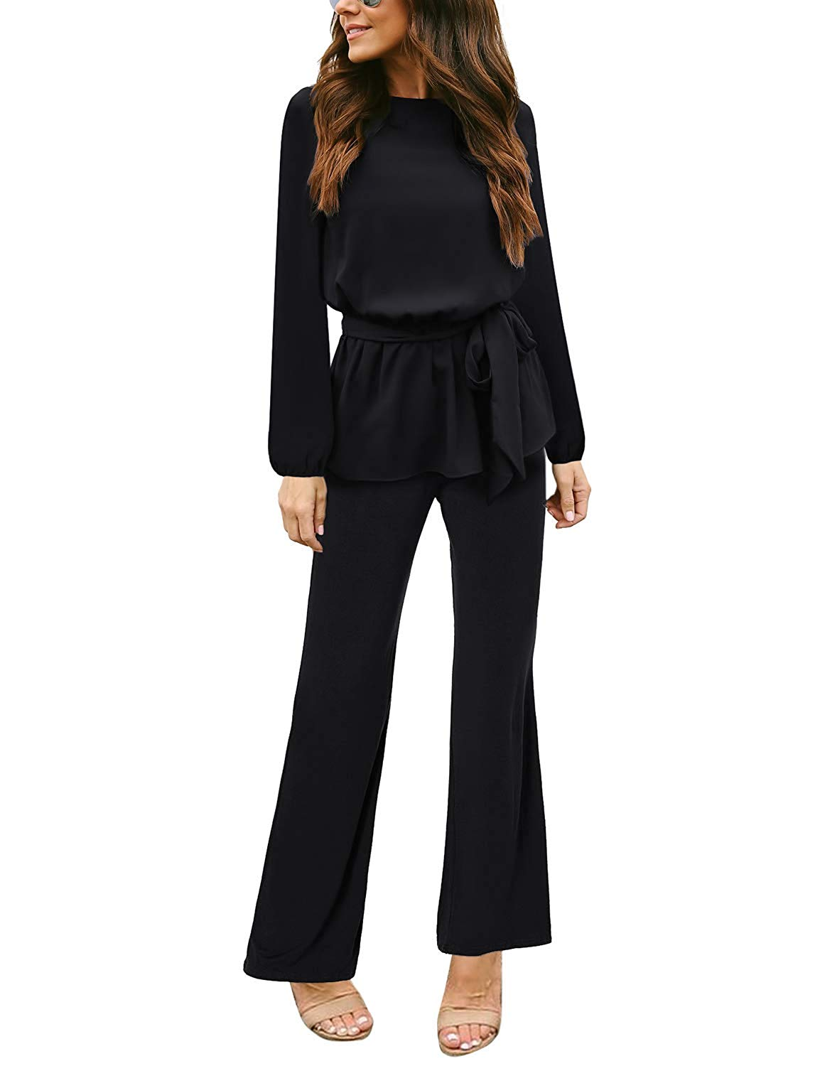 20f258b3105 Get Quotations · Arainlo Womens Fashion Long Sleeve Casual Wide Leg Long Pants  Jumpsuits Rompers Overalls