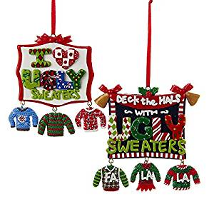 Kurt Adler 2 Assorted 4 Inch Clay Dough Ugly Sweaters Sign With Dangle Sweaters Christmas Ornaments