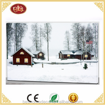 led winter scene canvas Lighted Winter Snow Scene Wall Canvas Picture