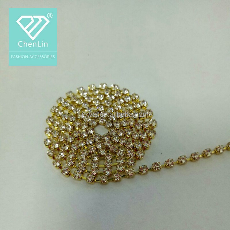 Fashion wholesale ss6.5-ss38 glass chaton cup chain rhinestone chain
