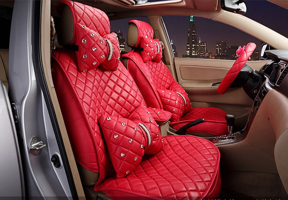 18pc superior quality luxury red Seat Covers imitation leather Seating Universal Full Set car seat cover Easy to install Fit Most Car