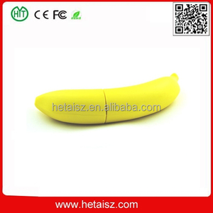 PVC banana shape usb company first sell usb flash drive, fruit banana usb 1tb