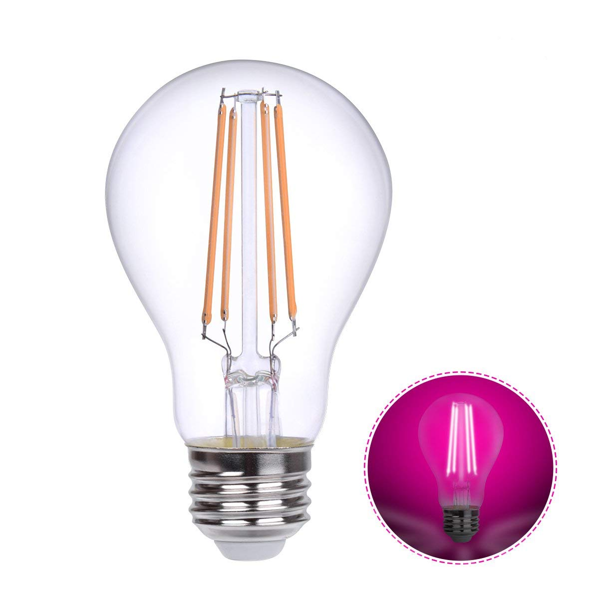 HOLA LED Grow Lights Bulb E26, LED Growing Lamp for Indoor Plants, Vegetables, Flowering, Greenhouse Plant Lights, A19 LED Filament Grow Lighting, 360° Beam Angle Pink Light, Non-Dimmable