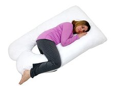Premium U Shaped Hour Glass Contoured Body Pregnancy Maternity Pillow with Zippered Cover - White
