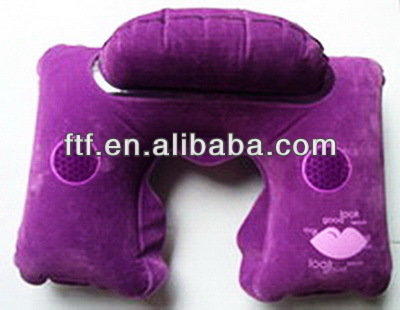inflatable pillow/U-shape inflatable earphone neck pillow with head rest
