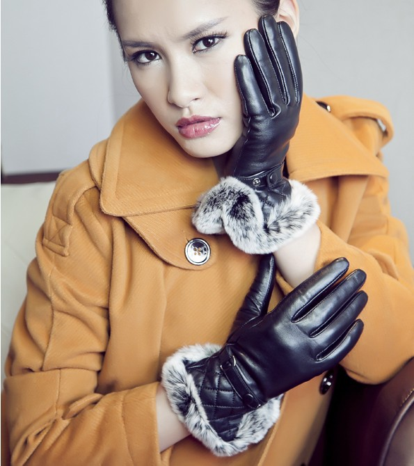 women fashion keep warm leather gloves with rex rabbit fur trim