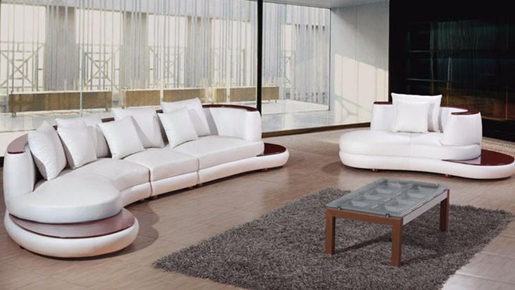 Nouveau Modèle Blanc Véritable En Cuir Meubles Salon Canapé Fixe - Canapé courbe design