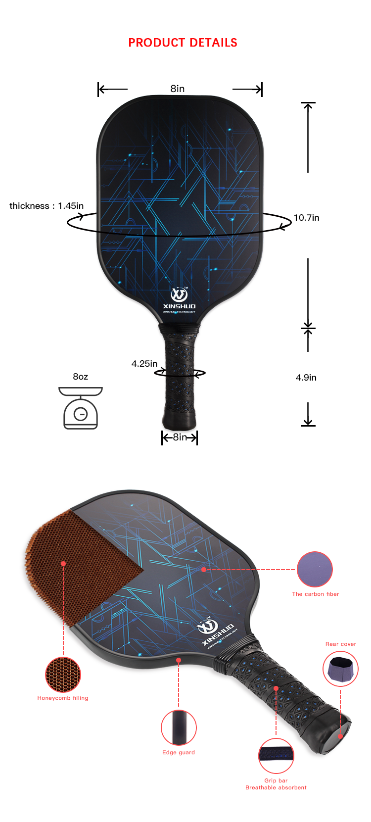 outdoor sports graphite carbon fiber pickleball racket
