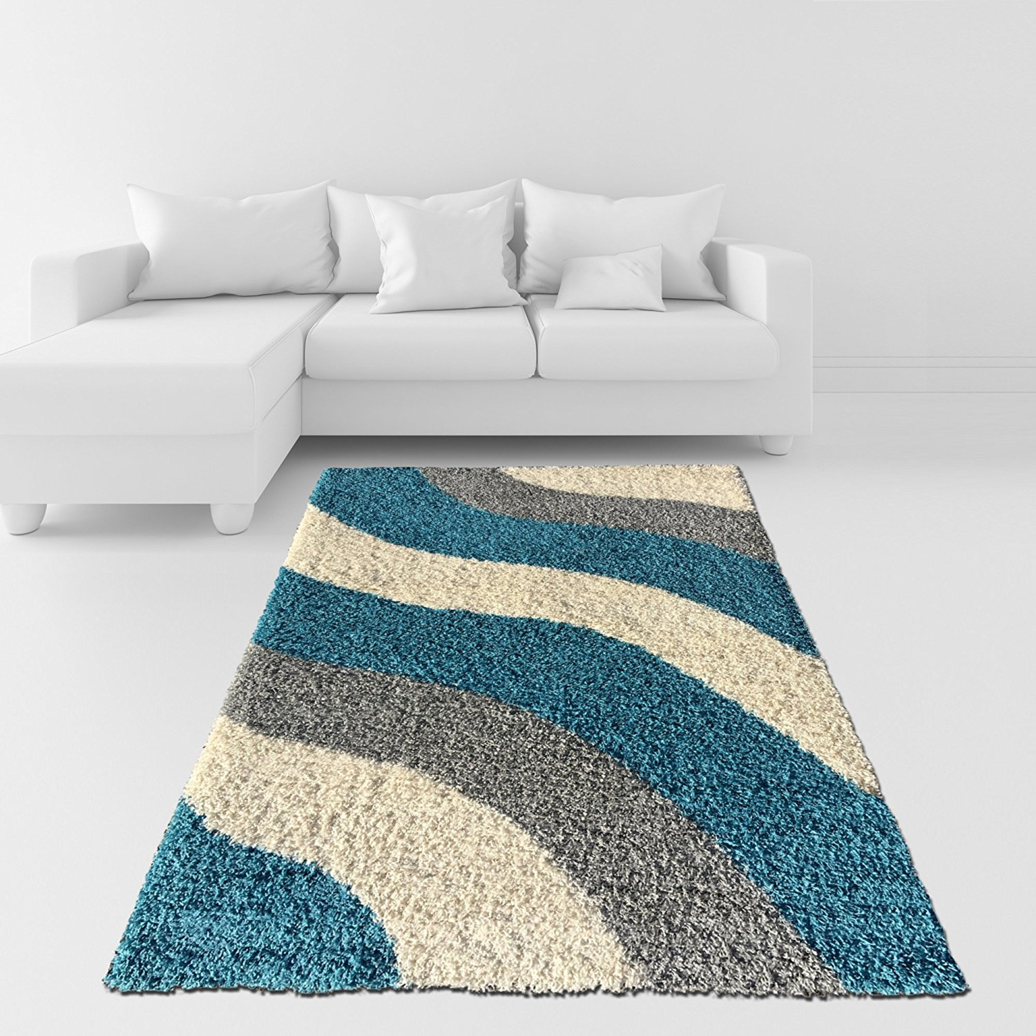 Buy Modern Shaggy area rugs soft chenille grey brown carpet living ...