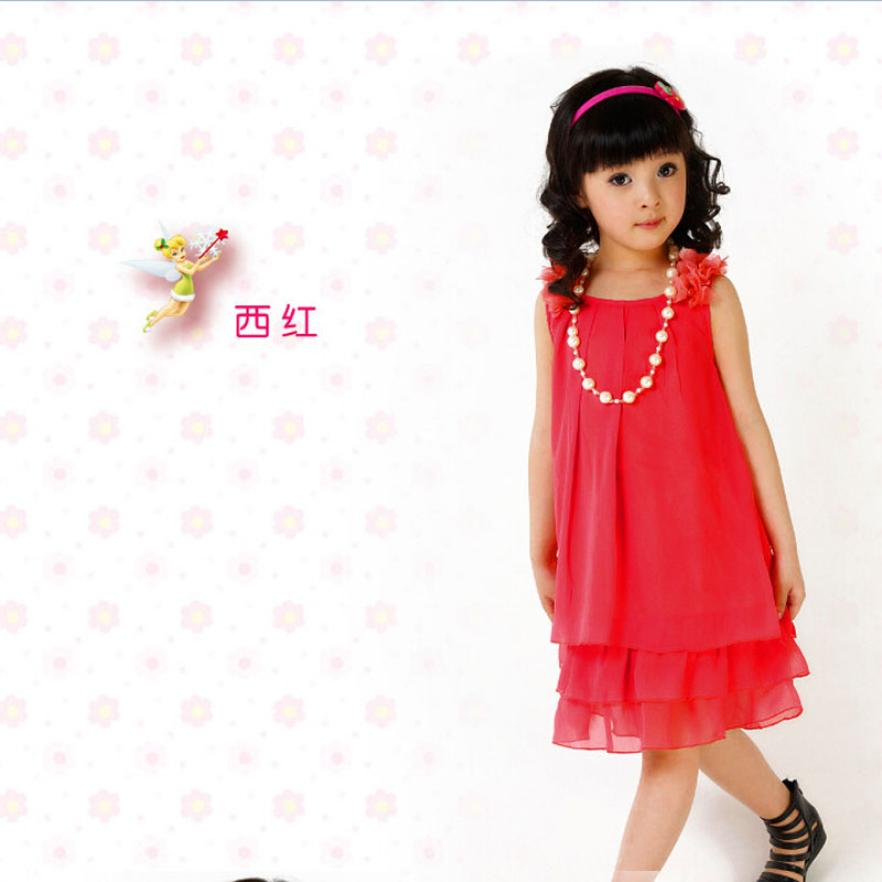 2015 new Chiffon Lace Lovely Necklace dress Girl Princess Kids Casual Sleeveless Girl Childrens Dresses for