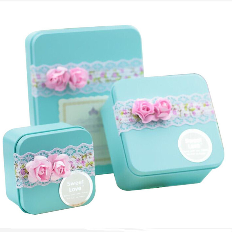 Lace Decoration Tin Box For Wedding Engagement Metal TIn Box For Chocolate Gift Candy Wedding Supply Wedding Candy Favor Box