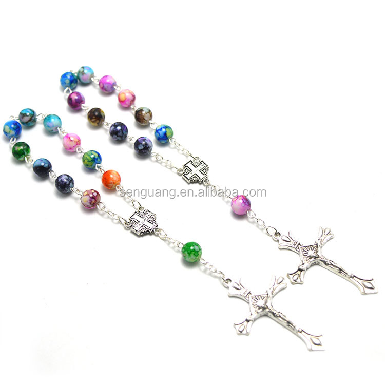 striped beads rosary wholesale, yiwu religious rosary,cheap beads rosaries catholic